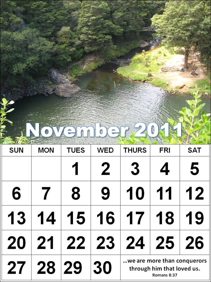 Free November 2011 Calendar with encouraging quotes