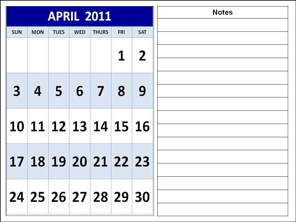 april 2011 calendar with holidays. april 2011 calendar with