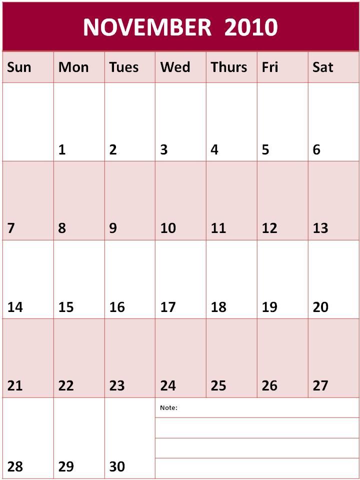 Jonsent Blog  Calendar November 2010