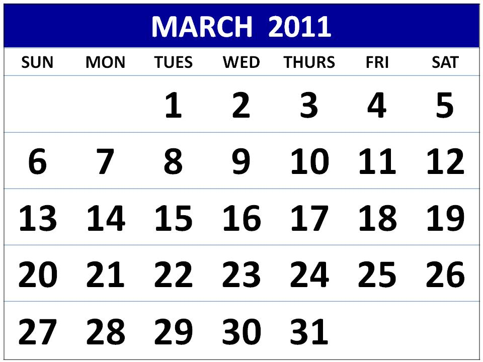 Download February 2011 PDF. March 2011 Monthly Calendar - Style 2