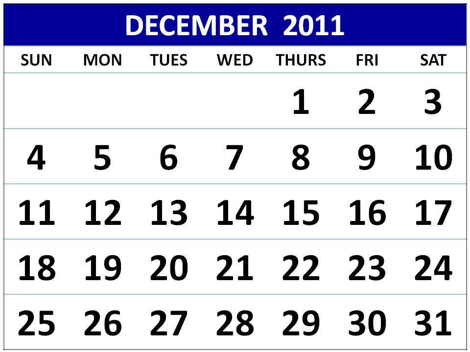 To download and print this Free Monthly Calendar 2011 December: