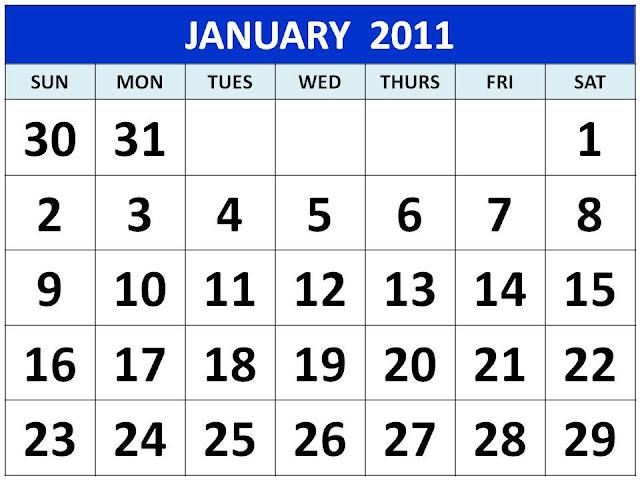 2011 calendar canada printable