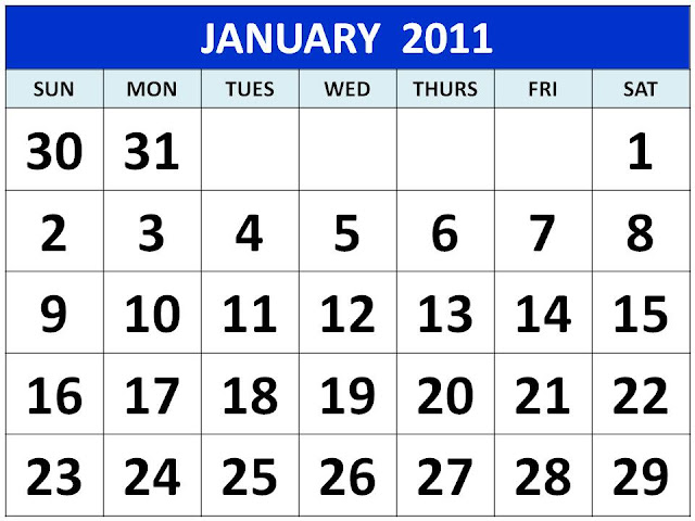 Free Printable January 2011 Calendar with big fonts