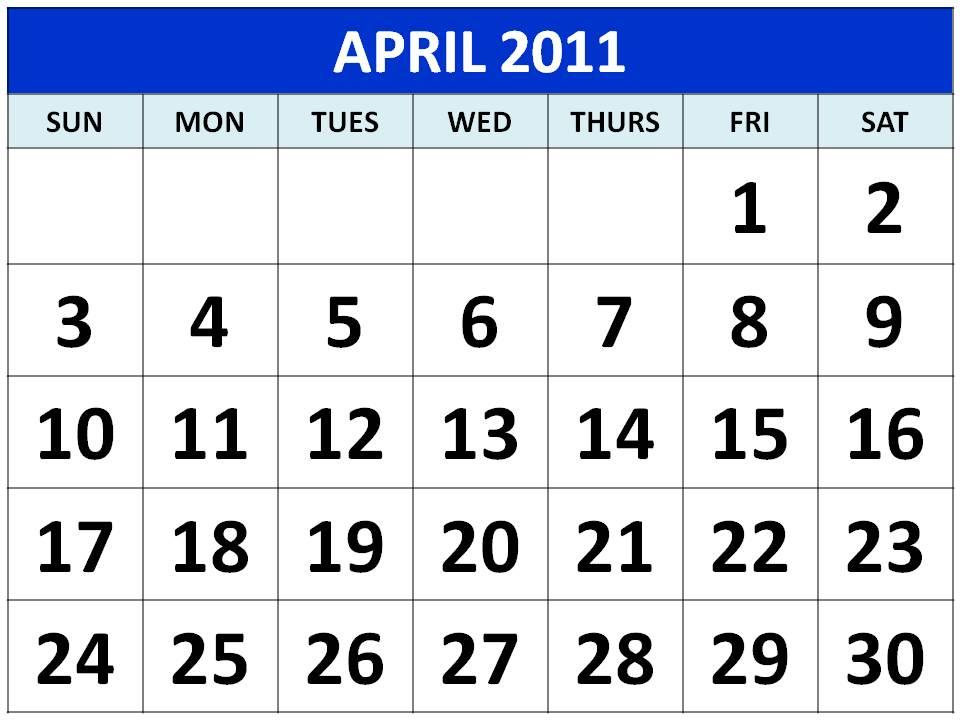 2011 calendar template. calendar template april 2011.
