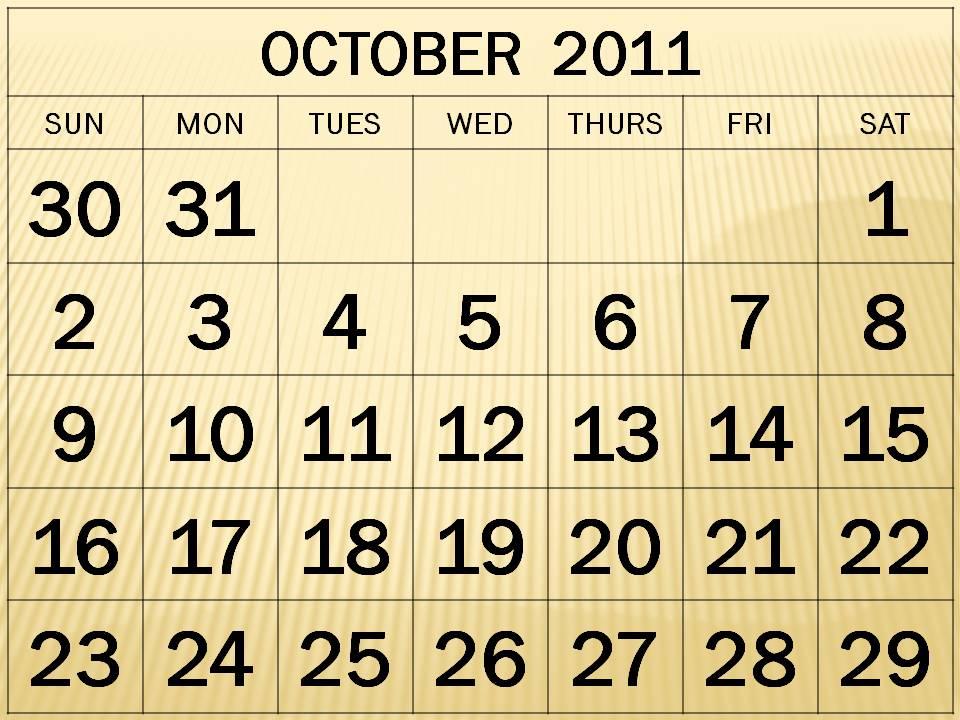 october calendars 2011. october calendars 2011. free