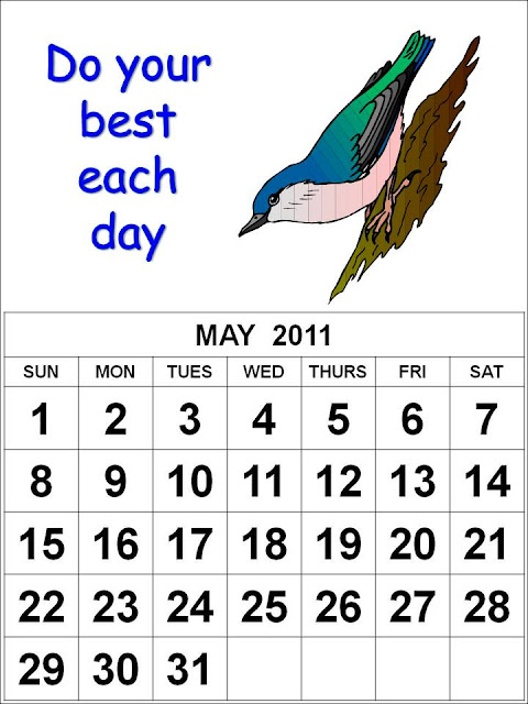 calendar 2011 may printable. Free Homemade Calendar 2011