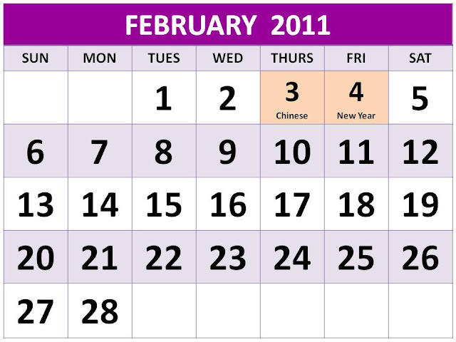 february 2011 calendar with holidays. monthly calendar holidays