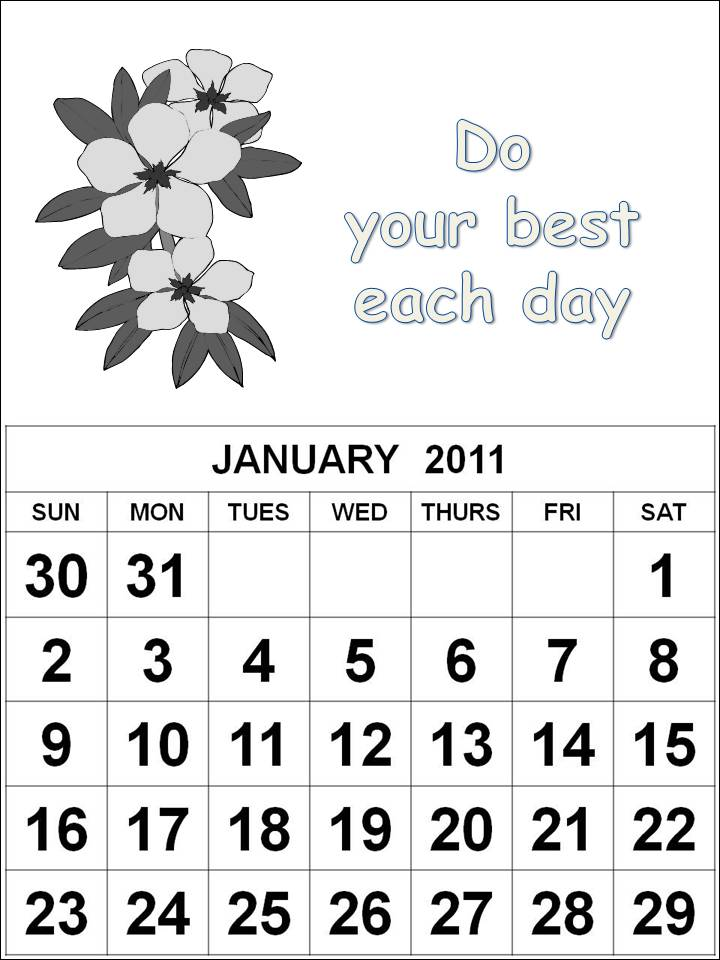 January 2011 Calendar Printable With Holidays. Print January 2011 Calendar