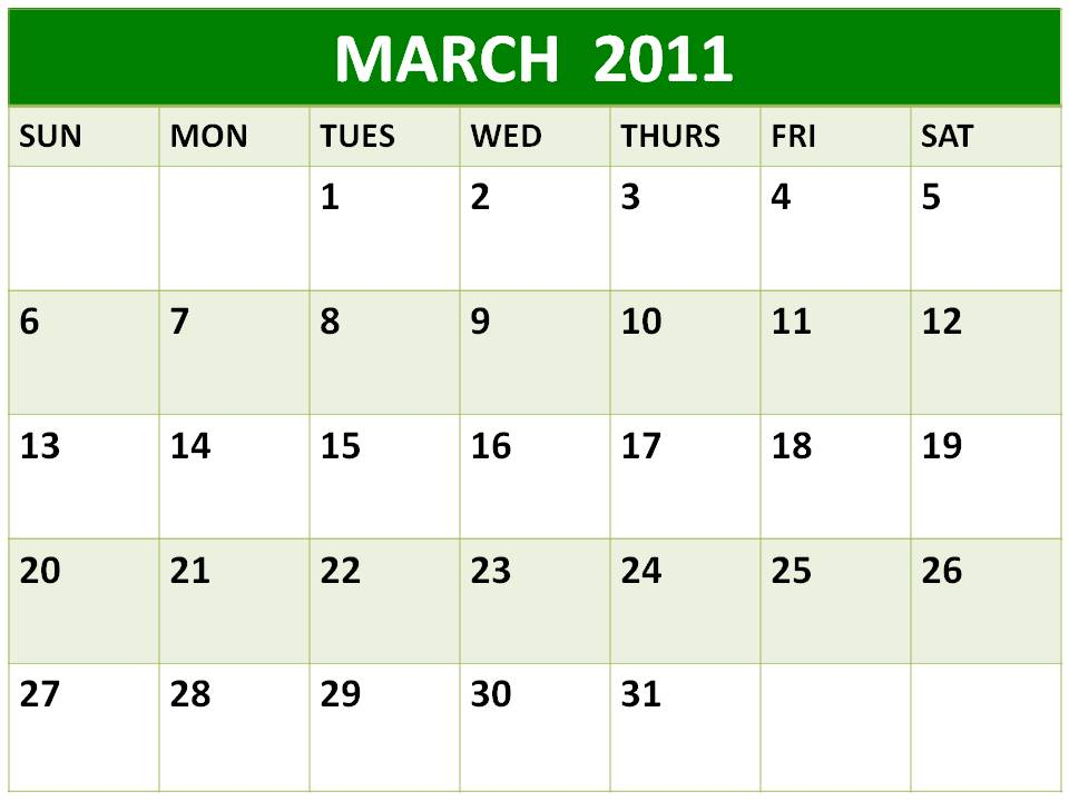 calendar 2011 march image. Blank Calendar 2011 March or