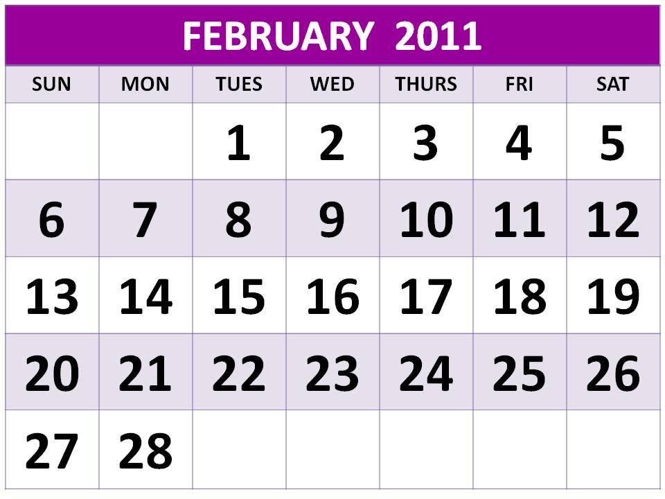 2011 calendar printable february. February 2011 Calendar For