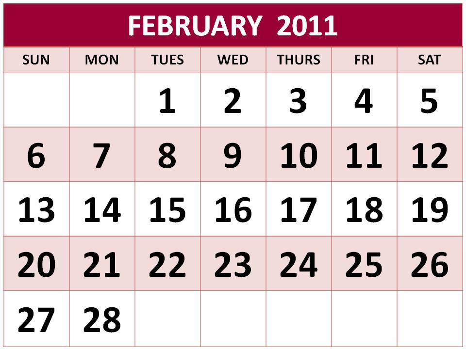 monthly calendar 2011 february. PRINTABLE 2011 CALENDAR
