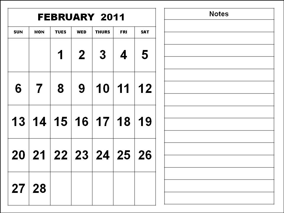 To download and print these Free Big Monthly Calendar 2011 February ...