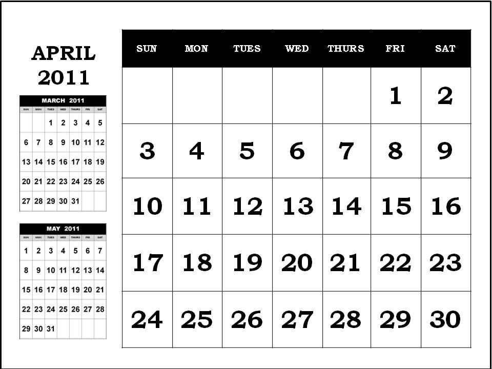2011 calendar with holidays printable. printable april 2011 calendar