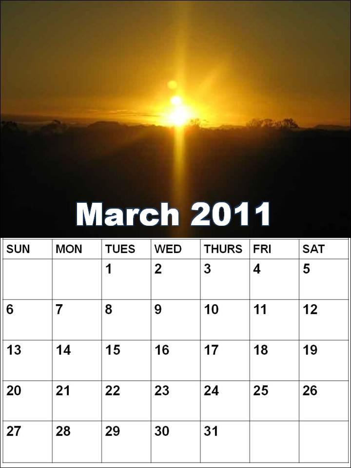 daily calendar march 2011. printable daily calendar 2011