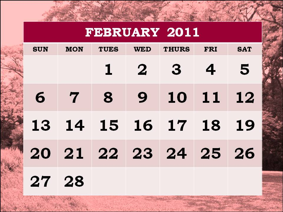 monthly calendar 2011 february. Big Monthly Calendar 2011