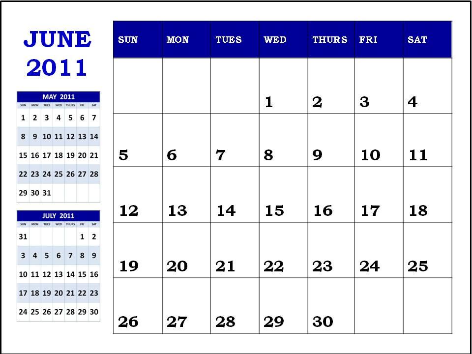 june 2011 calendar blank. 2011 Calendar June. Blank