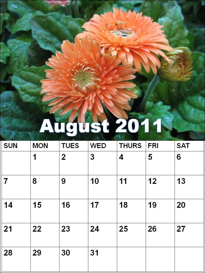 august calendar 2011. Blank Calendar 2011 August or