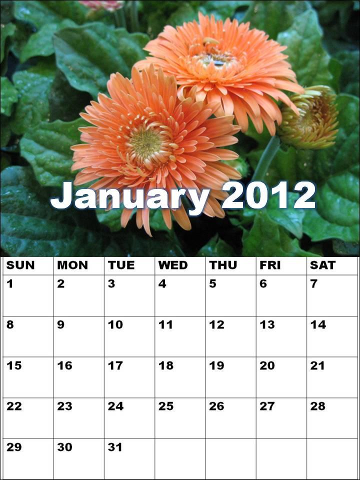 january calendars. Blank Calendar 2012 January or