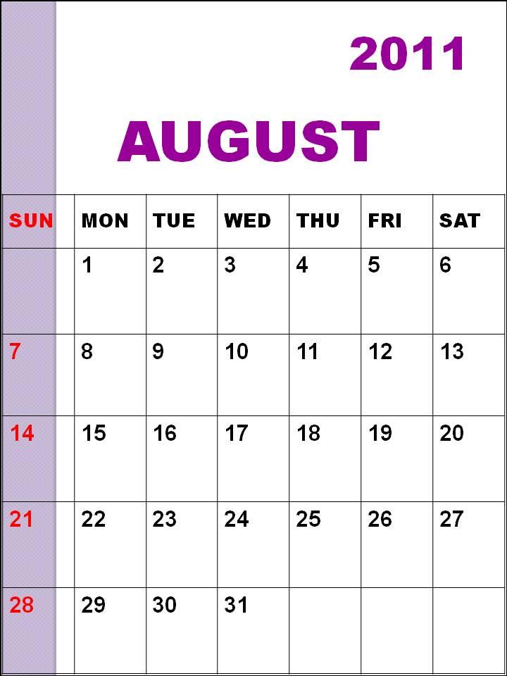 blank calendar 2011 august. august 2011 calendar printable