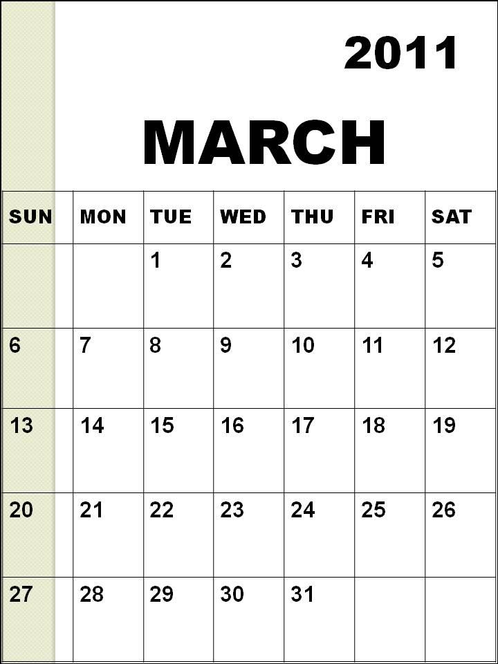 blank calendar march 2011. lank march calendar 2011