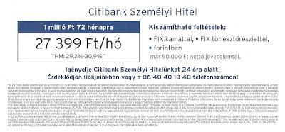 Gyorskölcsön - CITIBANK 24ó