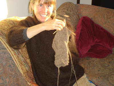 Marlie knitting a sock