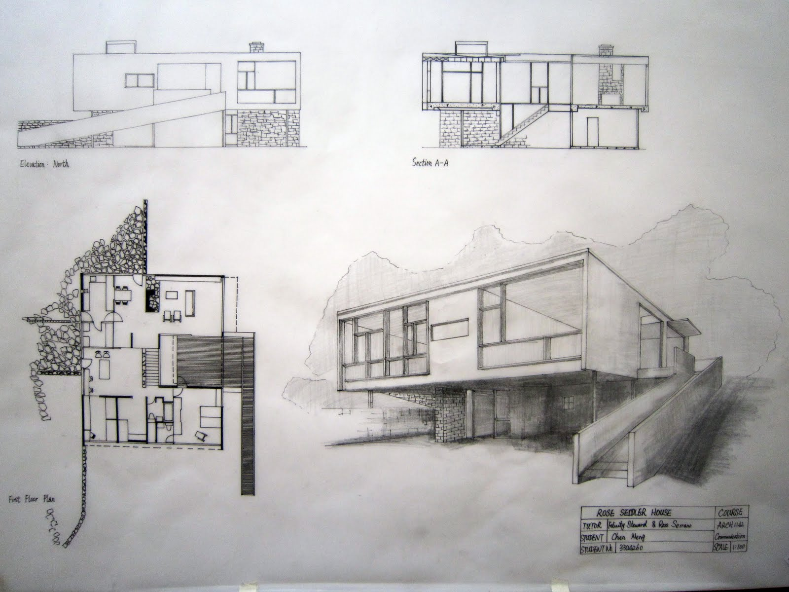 Meng Chen  FINAL EXERCISE   ROSE SEIDLER HOUSEThis is a series of hand drawings about ROSE SEIDLER HOUSE including plans  sections  elevations and perspective drawings  This is an effecitive way