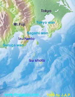 Sagami Wan in relation to Tokyo Wan (Tokyo Bay).