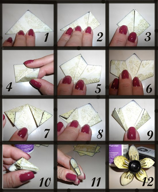 Scrapcandydesigns kusudama flower tutorial wmatching corner bookmark 1 gather your supplies five 2 12 squares of double sided paper distress ink quick grab glue 2 ink edges of your paper mightylinksfo