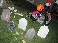 Cowboy's lawn on Halloween night