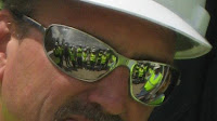 I liked our reflection in the working dude's sunglasses