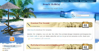 Free Blogger Template - Beach Holiday - 2 columns, left sidebar, blue, brown, white, travel blog