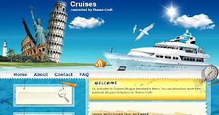 Free Blogger Template - Cruises - 2 columns, left sidebar, blue, brown, white, travel blog