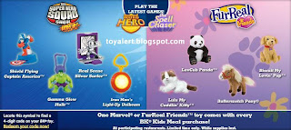 Burger King toys - Superhero Squad Show and Furreal toy promotion
