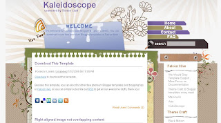 Free Blogger Template - Kaleidoscope - 2 columns, white, purple and brown, rss button link, navigation menu, social bookmarking buttons, search box, personal blog, art blog, craft blog