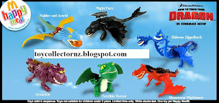 McDonalds Dragon Happy Meal Toys - Australia and New Zealand release March 2010 - Monstrous Nightmare, Night Fury, Terrible Terror, Hideous Zippelback, Gronckle, Nadder and Astrid