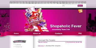 Free Blogger Template - Shopaholic Fever  - 2 columns, left sidebar, pink, white, girly theme, shopping theme
