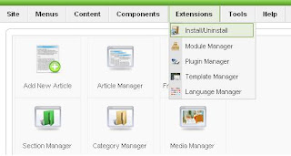 Extensions Install Uninstall Menu Joomla 1.5