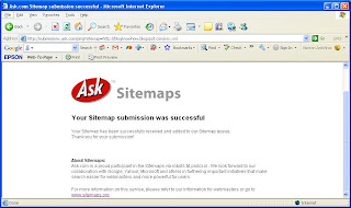 Ask.com Sitemap Submission Success Screen