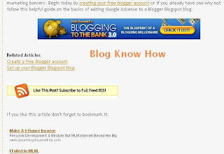 Placement of Google Adsense Below the Content and Above the Footer on a Blogger Blogspot Blog