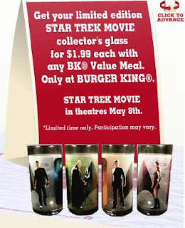 Burger King Star Trek Kids Meal Glasses Promotion 2009 - 4 Limited Edition Frosted Glasses at $1.99 each featuring Kirk/Enterprise/Uhuru/Enterprise/Nero/Narada/Spock/Jellyfish