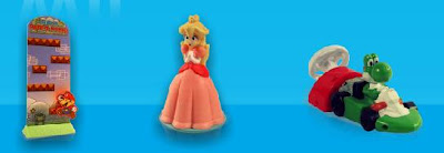 Burger King Wii Kids Meal Toys 2008 -Mario to the Rescue,Whirl 'n Twirl Princess Peach,Mario Kart Yoahi - image credit unknown