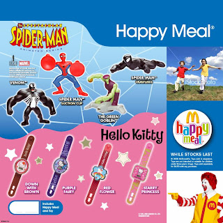 McDonalds Spectacular Spider-man and Hello Kitty Promotional Toys March 2009