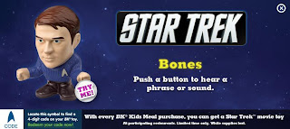 Burger King Star Trek Toy 2009 - Bones says - I'm a Doctor, not a physicist