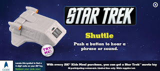 Burger King Star Trek Kids Meal Toy Promotion 2009 - Shuttle