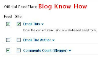 Select Email This from the Site Column on Feedburner FeedFlare page