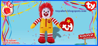 McDonalds Ty Beanie Babies 2009 toys - Ronald McDonald - 30 toys to collect