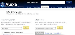 Visit Alexa Site Info Page to check the rank of your Blogger Blogspot blog