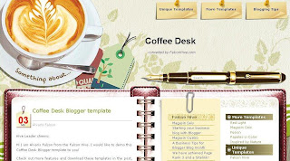 Coffee Desk - Free Blogger Template - 3 column, fixed width, 2 right sidebars, customized date feature, navigation menu, notebook style post section, rss subscribe button in footer, green, light, coffee cup header image