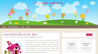 Flower Garden - Free Blogger Template theme.  3 column design, navigation menu, unique header, ads ready, search box, read more function